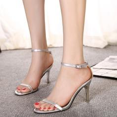 Mulheres Couro Salto agulha Bombas Sandálias Beach Wedding Shoes com Fivela (047125426)