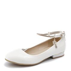 Женщины PU Плоский каблук На плокой подошве Закрытый мыс с Цепь обувь (086155467)