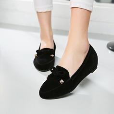 Женщины Замша Плоский каблук Закрытый мыс Танкетка с бантом обувь (086145728)