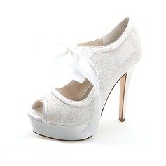 Women's Lace Stiletto Heel Peep Toe Pumps Sandals With Lace-up (047054646)