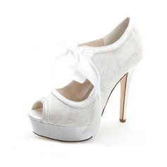 Kvinder Blonder Stiletto Hæl Kigge Tå Pumps sandaler med Blondér (047054646)