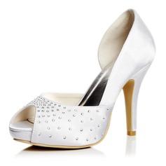 Kvinnor Satäng Stilettklack Peep Toe Pumps Sandaler med Strass (047052658)