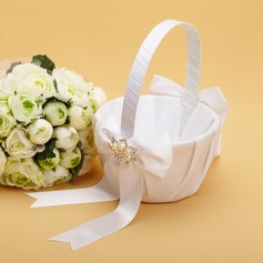 Pretty Flower Basket in Satin With Bow/Rhinestones/Faux Pearl (102038631)