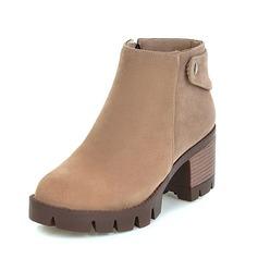 Женщины Замша Устойчивый каблук Полусапоги обувь (088092731)