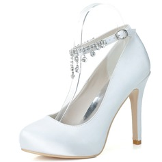 Женщины Атлас Высокий тонкий каблук Закрытый мыс На каблуках с горный хрусталь кисточка (047057099)