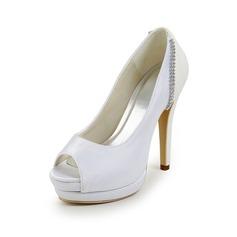 Vrouwen Satijn Stiletto Heel Peep Toe Plateau Sandalen met Bergkristal Gesplitste Stof (047017780)