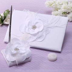 Flowers Design Rhinestones/Feather/Flower Guestbook & Pen Set (101037358)