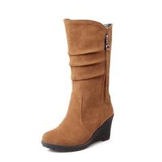 Suède Talon compensé Bottes mi-mollets avec Zip chaussures (088055038)