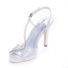 Kvinder Satin Stiletto Hæl Kigge Tå Pumps sandaler med Rhinsten (047039110)