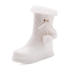 Femmes Similicuir Talon plat Bout fermé Bottes Bottes mi-mollets Bottes neige avec Fourrure chaussures (088185728)