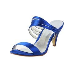 Vrouwen Satijn Cone Heel Peep Toe Slingbacks (047034346)