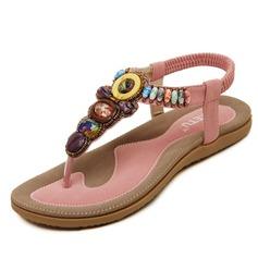Женщины кожа Плоский каблук Сандалии с развальцовка обувь (087093232)