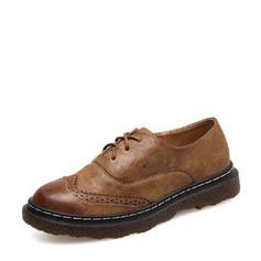 Женщины PU Плоский каблук На плокой подошве Закрытый мыс с Шнуровка обувь (086141374)