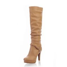 Couro Salto agulha Bota no joelho com Strass sapatos (088055043)