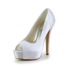 Kvinnor Satäng Stilettklack Peep Toe Plattform Sandaler med Strass (047024168)