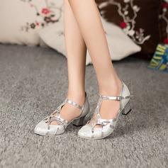 Женщины Мерцающая отделка На каблуках Танцевальные кроссовки Бальные танцы с Т-ремешок Обувь для танцев (053072360)