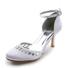 Vrouwen Satijn Stiletto Heel Closed Toe Pumps met Gesp Strass (047005116)