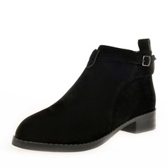 Women's Suede Low Heel Boots Ankle Boots With Buckle Zipper shoes (088146297)
