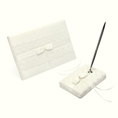 Elegant Rhinestones/Bow/Lace Guestbook & Pen Set (101018169)