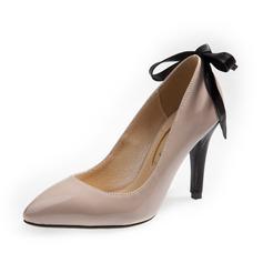 Женщины кожа Высокий тонкий каблук На каблуках Закрытый мыс обувь (085085025)