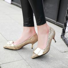 Женщины Мерцающая отделка Высокий тонкий каблук На каблуках Закрытый мыс с Мерцающая отделка пряжка обувь (085126958)