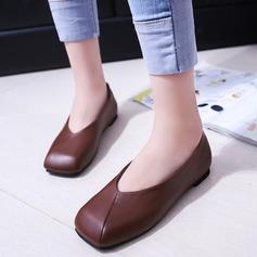 Женщины кожа Плоский каблук На плокой подошве Закрытый мыс обувь (086164480)