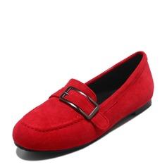 Женщины Замша Плоский каблук На плокой подошве Закрытый мыс с пряжка обувь (086153764)