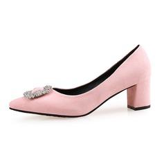 Женщины Замша Устойчивый каблук На каблуках Закрытый мыс обувь (085087453)