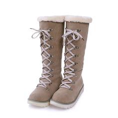 Женщины Замша Плоский каблук Ботинки Зимние сапоги с Шнуровка обувь (088140237)