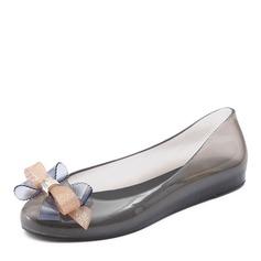 Kvinner PVC Flate sko Lukket Tå med Bowknot sko (086165234)