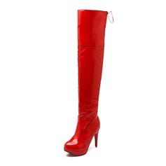 Женщины кожа Высокий тонкий каблук Закрытый мыс Сапоги выше колен обувь (088094633)