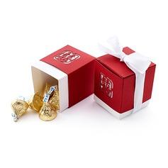 Doppia Felicità Cut-out Cubi Scatole di Favore con Nastri (set di 12) (050013601)
