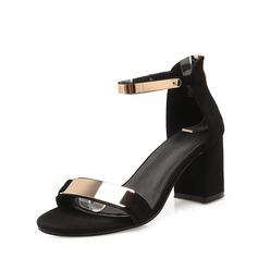 Mulheres Salto robusto Sandálias com Lantejoulas Zíper sapatos (087114494)