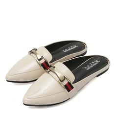 Женщины кожа Плоский каблук На плокой подошве Закрытый мыс Босоножки с Цепь обувь (086163197)