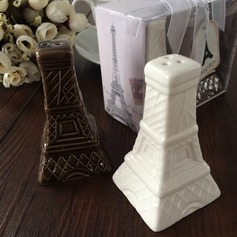 Эйфелева башня Дизайн керамика соль и перец шейкеры с Ленты/Тег (Набор из 2 штук) (051063174)