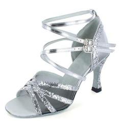 Donna Similpelle Glitter scintillanti Tacchi Sandalo Latino con Listino alla caviglia Scarpe da ballo (053022034)
