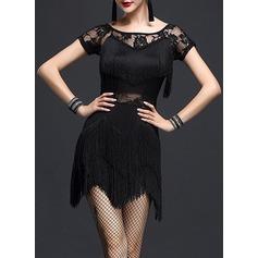 Женщины Одежда для танцев Спандекс Кружева Латино Платья (115112630)
