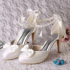 Женщины шелка как атласное Высокий тонкий каблук Платформа На каблуках с жемчуг (047118981)
