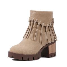 Женщины Замша Устойчивый каблук Полусапоги с кисточкой обувь (088091724)