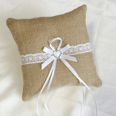 простой Кольцо подушки в Ткань с Лук/Стразы/Кружева (103151825)
