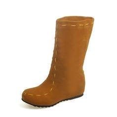 Kvinner Semsket Flat Hæl Flate sko Lukket Tå Støvler Mid Leggen Støvler med Annet sko (088126573)