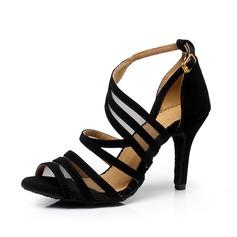 Mulheres Camurça Saltos Sandálias Bombas Latino Sapatos de dança (053063328)