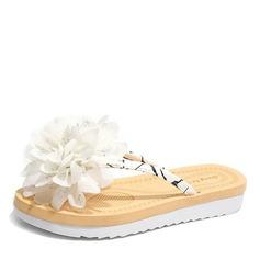 Женщины кожа Плоский каблук Сандалии На плокой подошве Босоножки Вьетнамки с Цветок обувь (087164416)