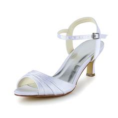 Vrouwen Satijn Low Heel Peep Toe sandalen met Ruched (047039422)