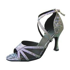Женщины кожа На каблуках Сандалии Латино с Ремешок на щиколотке Обувь для танцев (053013157)