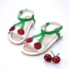 Jentas Titte Tå Ekte lær flat Heel Sandaler Flate sko (207124249)
