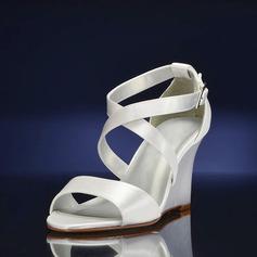 Mulheres como o cetim de seda Plataforma Sandálias Calços (047143536)