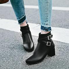 Frauen PU Stämmiger Absatz Absatzschuhe Stiefel mit Schnalle Schuhe (088143392)