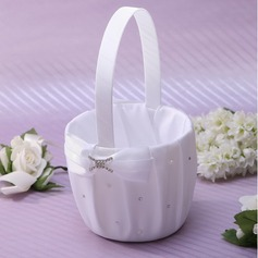 Nice Flower Basket in Satin With Rhinestones (102018040)
