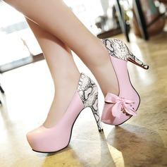 Женщины кожа Устойчивый каблук На каблуках с Шнуровка Соединение врасщеп обувь (085114549)